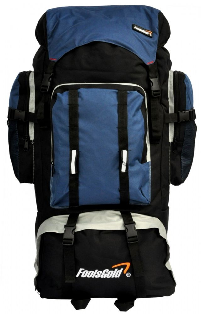 Extra Large foolsGold® Hiking Camping Travel Backpack - Black/Navy